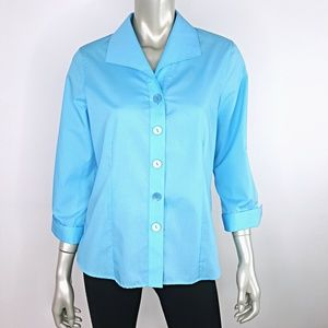 Foxcroft Blue Button Up Wrinkle Free Career Top 8